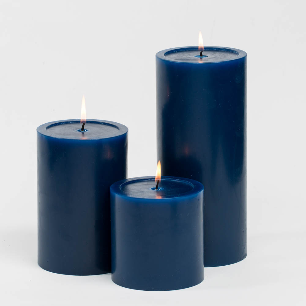 "Richland Pillar Candle 4"" Navy Blue Set of 3"