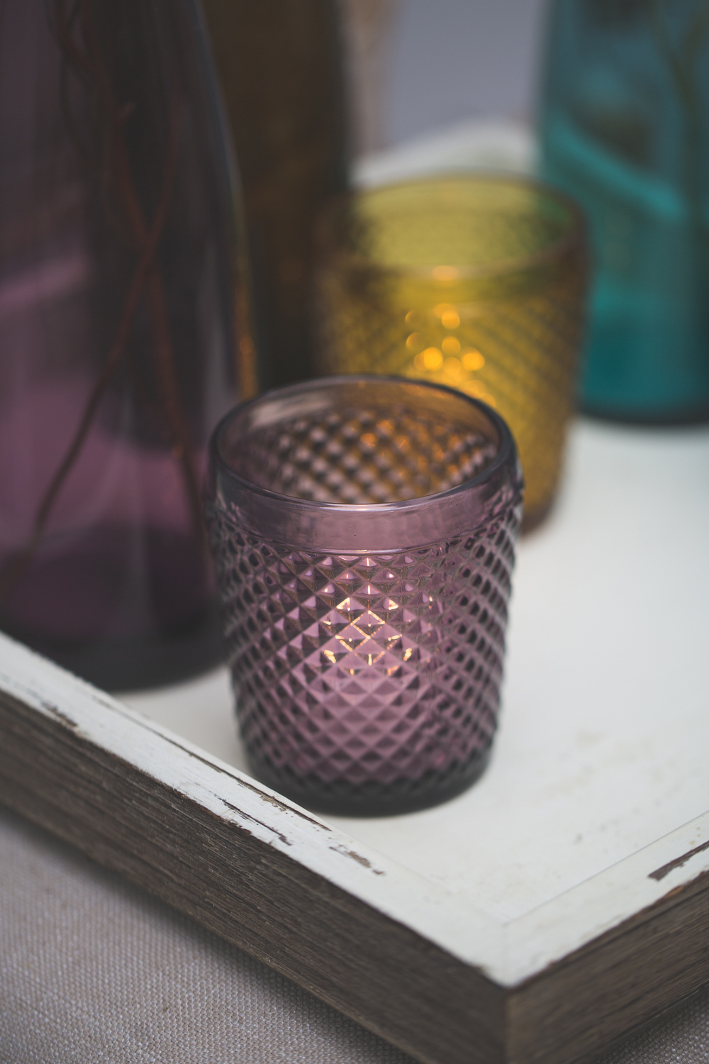 Richland Diamond Candle Holder Purple Set of 6