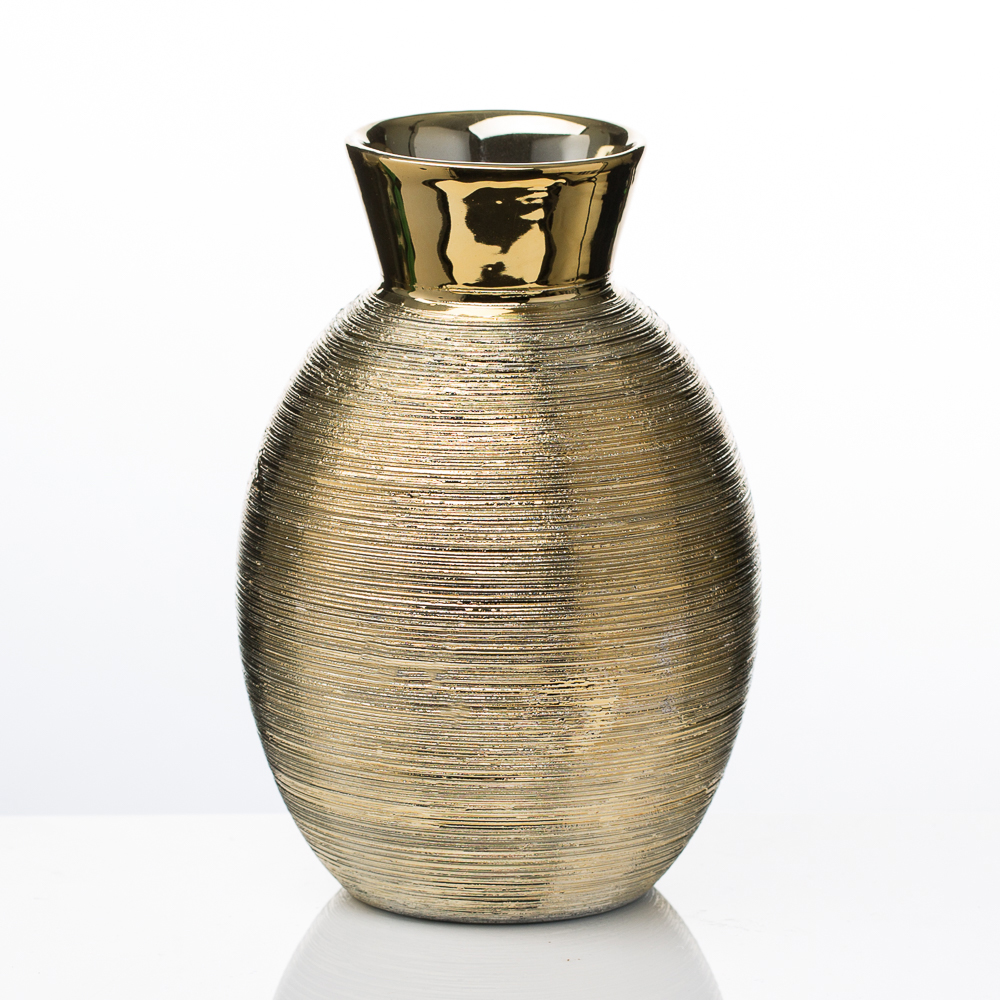 "Richland Elegant Vase 6.5"" Gold Ceramic"