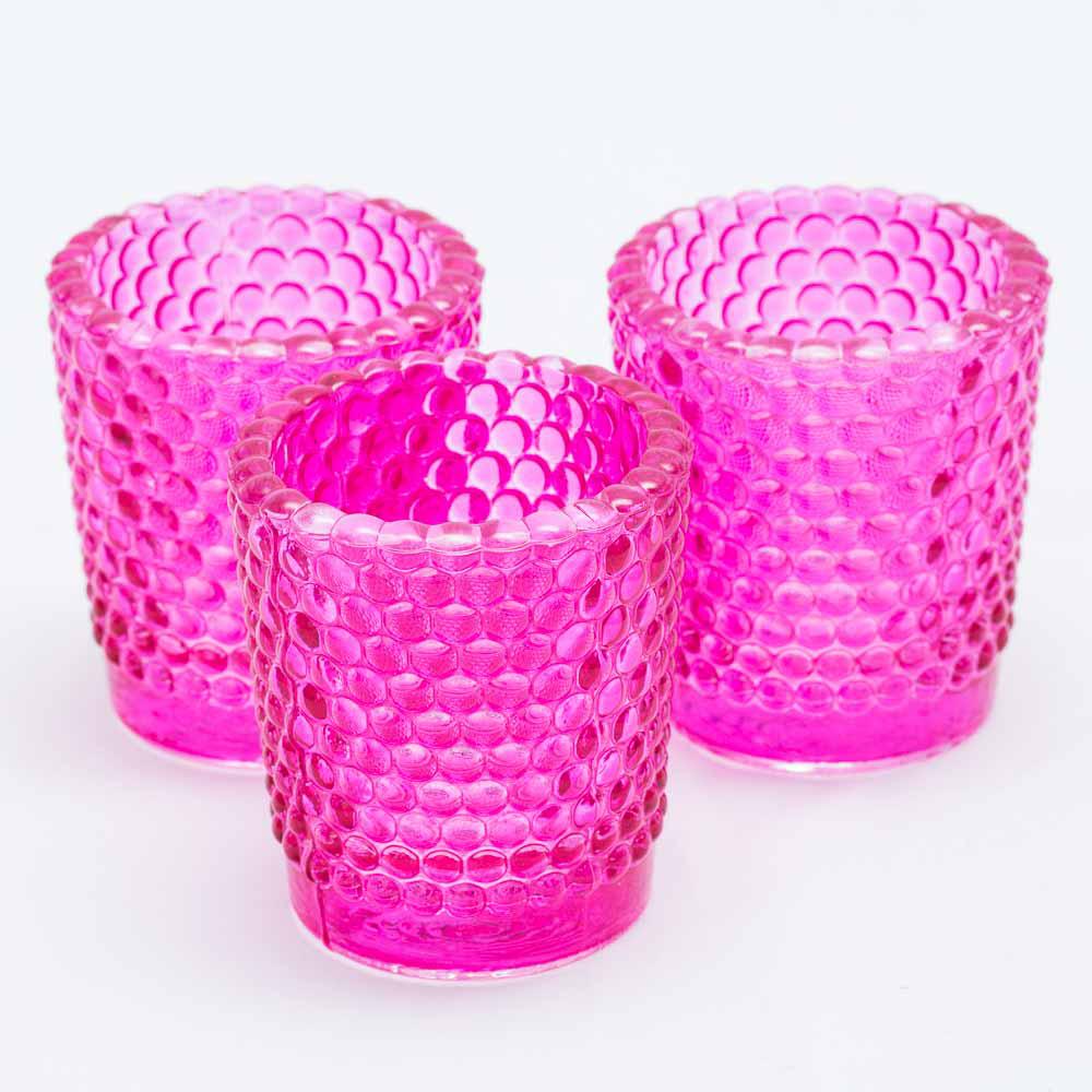 Richland Votive Holder Hobnail Pink Set of 12