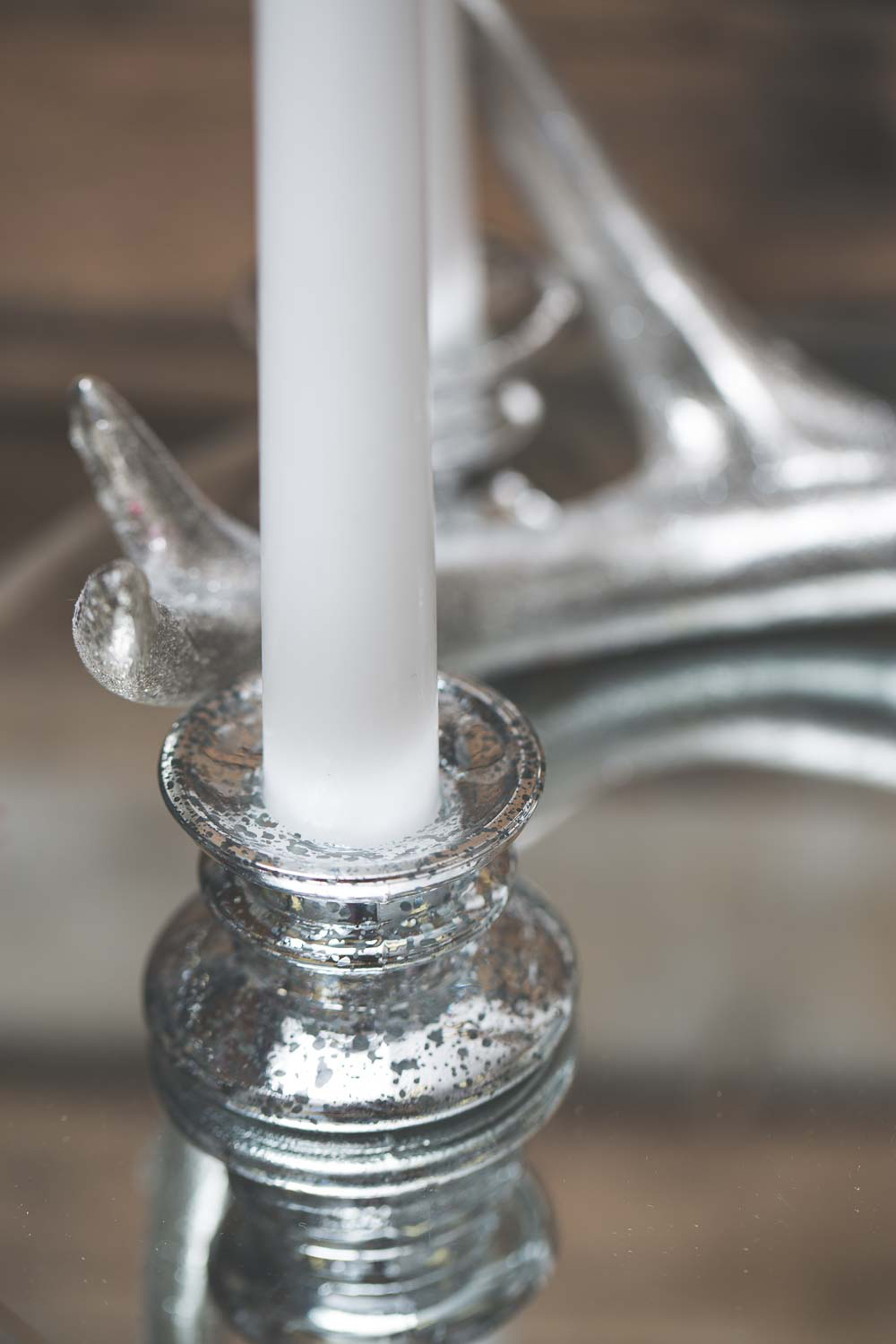 Richland Athena Taper Candle Holder Silver Set of 12