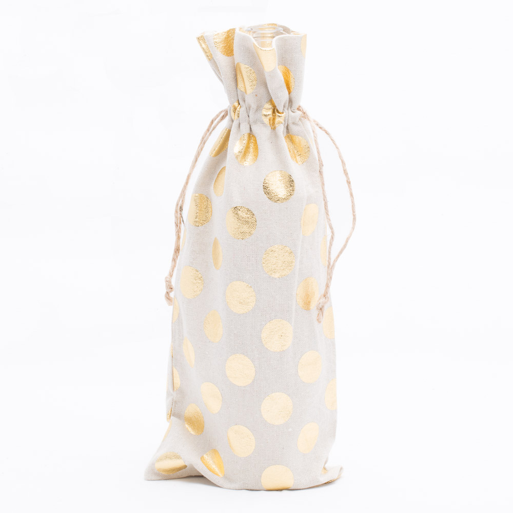 "Richland Linen Bag 6"" x 14"" with Gold Dots Set of 12"