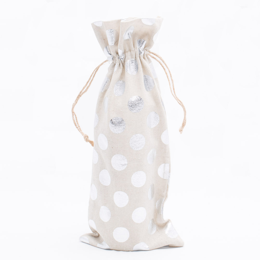 "Richland Linen Bag 6"" x 14"" with Silver Dots Set of 12"