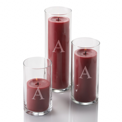 Monogrammed Cylinder Vases Set of 3