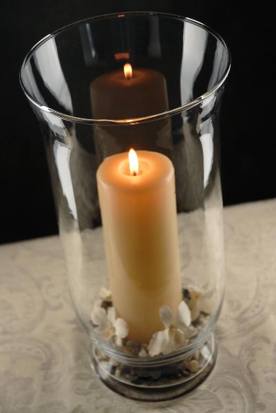 Clear glass hurricane vase in