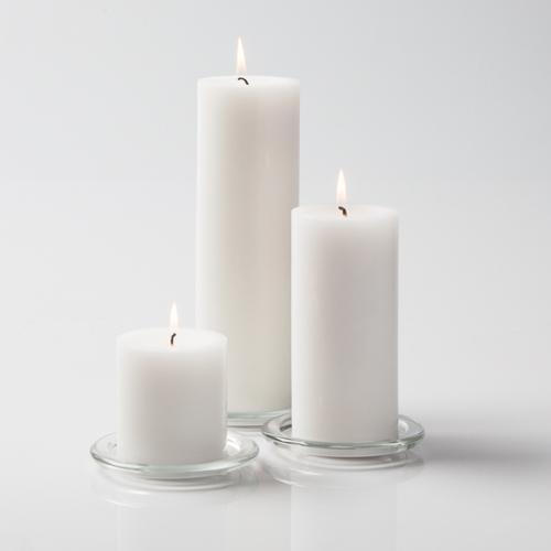 """Pillar Candles 3"""" White Set of 3"""