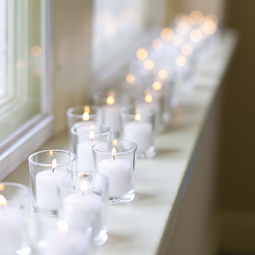 12 Clear Glass Votive Holders and Candles