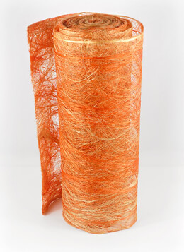 "Natural Abaca Fiber  Orange & Yellow 19"" Wide x  10yd"