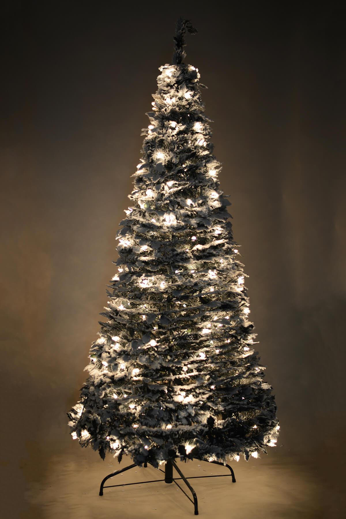 six foot accordion christmas tree snow covered with lights - Snow Covered Christmas Trees