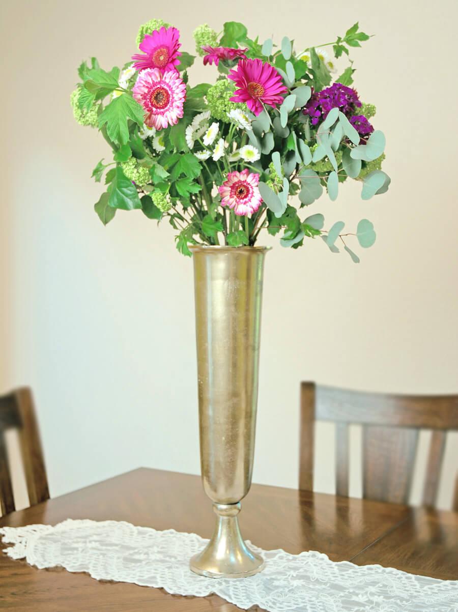 "Tall Gold Trumpet Vase 23"""