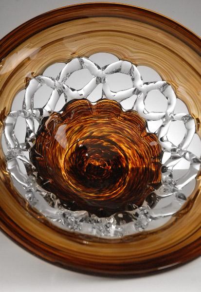 """Amber Glass Lace Bowl 15"""""""