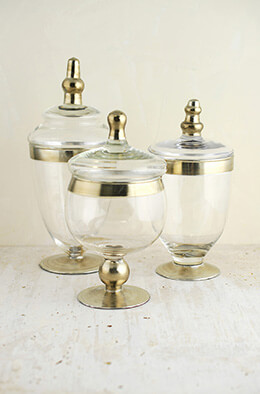 Set of 3 Small Apothecary Jars  8 & 10""
