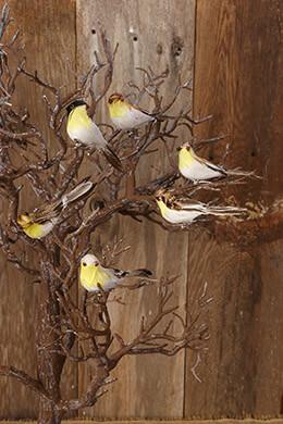 6 Artificial Birds Assorted 4in