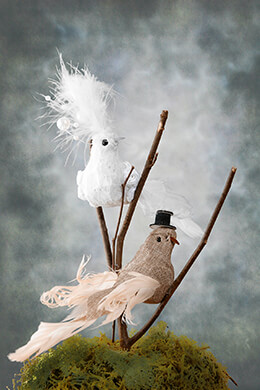 Artificial Birds Bride & Groom Brown Linen