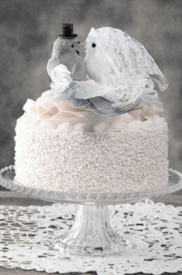 Wedding Cake Birds Bride & Groom Gray Linen