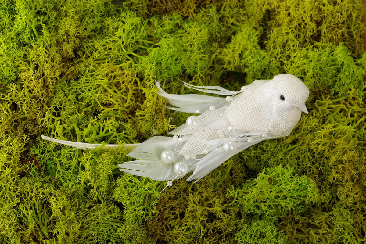 Artificial Birds Linen Cream 6 5in Pack Of 3