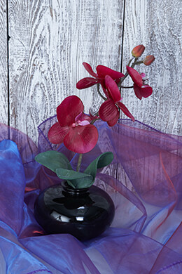 Artificial Orchids Violet Potted 11in