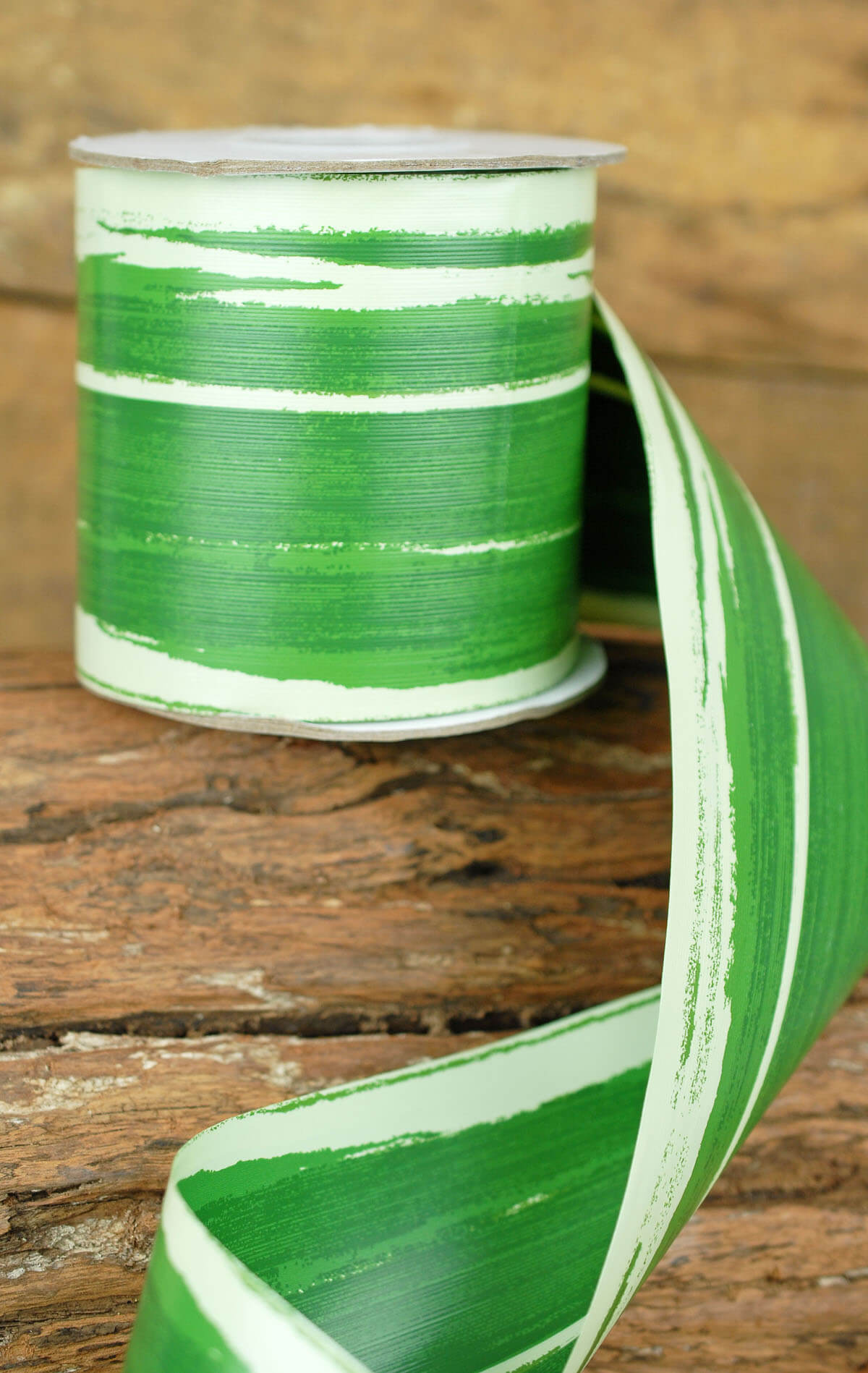 Aspidistra Floral Ribbon Variegated Green 4in x 50yd