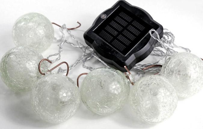 Aurora Glow Handblown Glass Solar String Lights 35'
