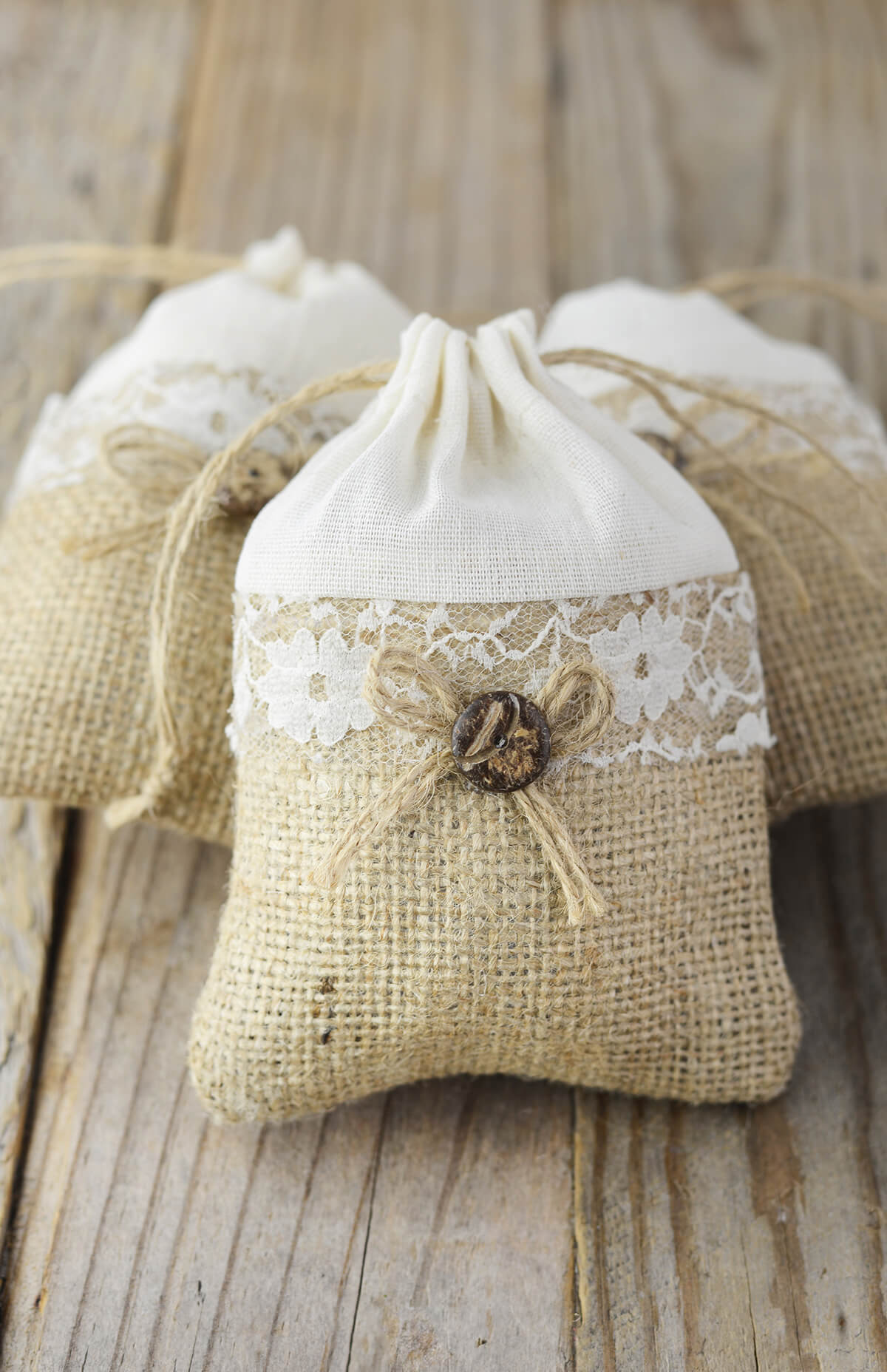 12 Burlap, Lace & Cotton 3x4 Favor Bags