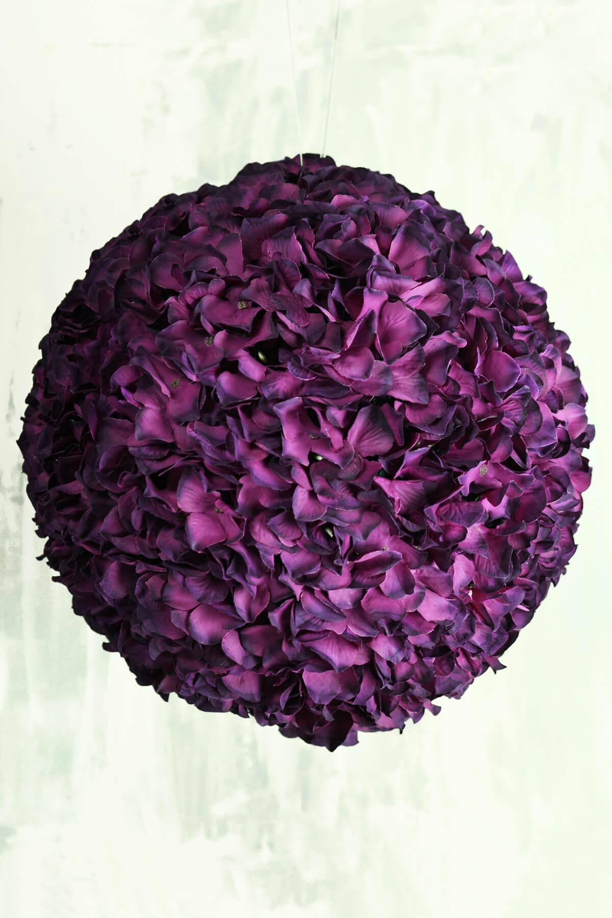"14"" Burgundy Silk Hydrangea Balls, Hanging Decorations, Wedding Flowers"