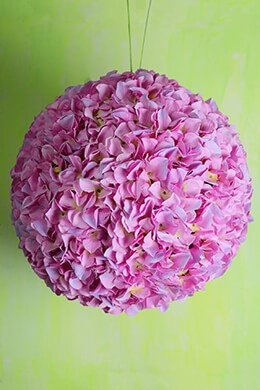 "14"" Pink & Purple Two Tone Silk Hydrangea Balls, Hanging Decorations, Wedding Flowers"