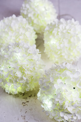 LED White Silk Hydrangea Flower Ball String Lights 6FT