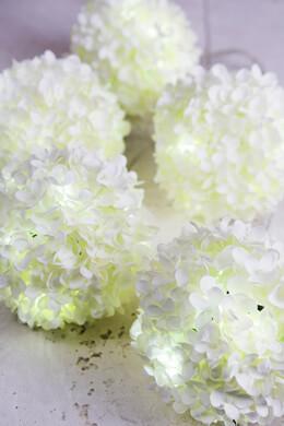 LED White Silk Hydrangea Flower Ball String Lights 6FT