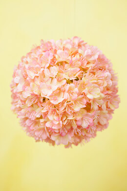 "Pink Blush Viburnum 4"" Silk Flower Ball"