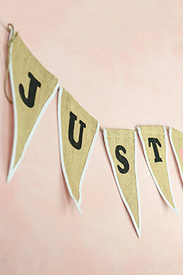 """Just Married Burlap Banner 90"""""""