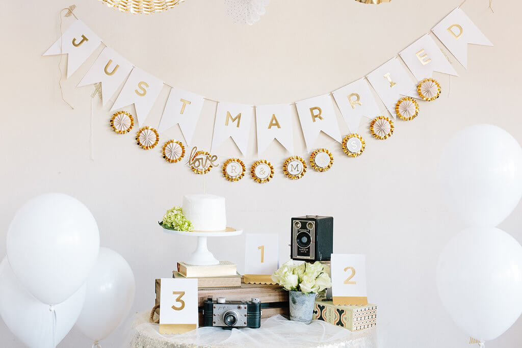Just Married Banner Gold Foil Letters