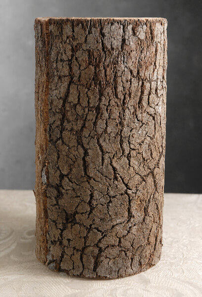 "Natural Bark Covered 10"" Cylinder Timber Vases"