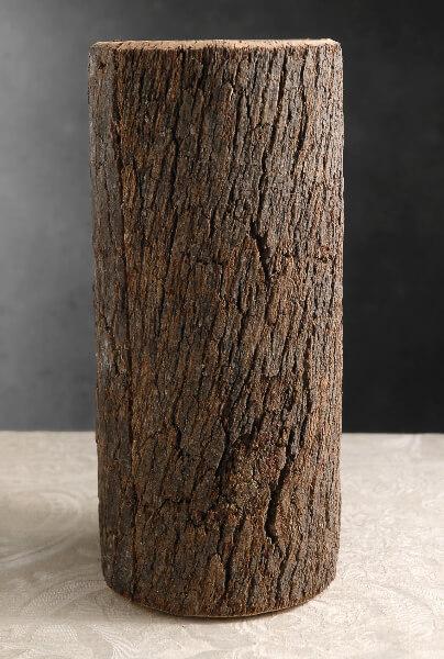 """Natural Bark Covered 12"""" Cylinder Glass Timber Vases"""