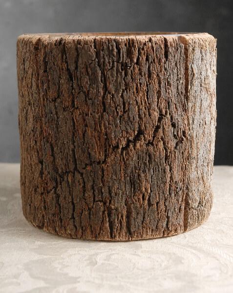 """Natural Bark Covered 6.5"""" Glass Cylinder Timber Vases"""