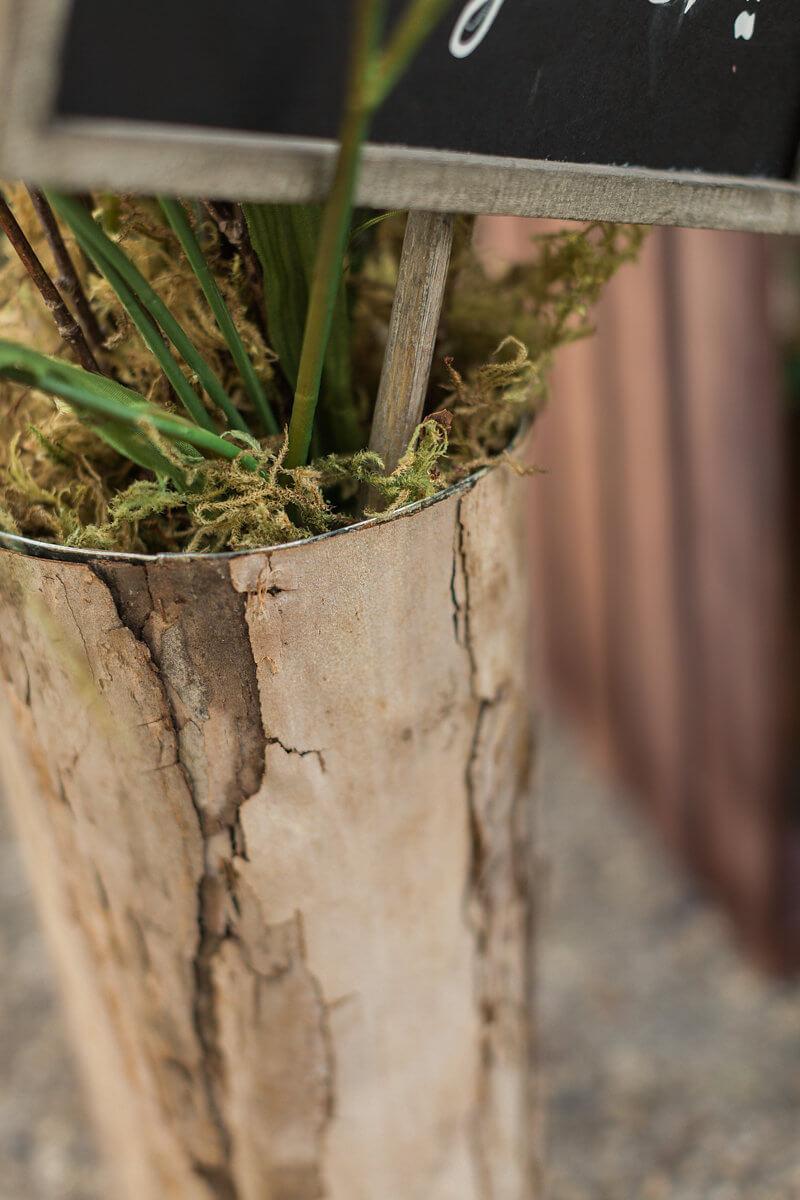 Bark Covered Zinc Vase 10in