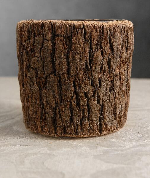 """Timber Vases Bark Covered Glass Vase 3.5"""""""
