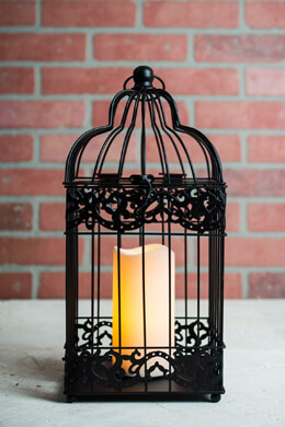 Black Bird Cage Candle Lantern Battery Operated  15in