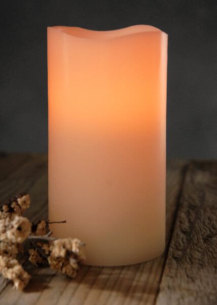 "Gerson Flameless LED Wax Candle Light with Timer 3"" x 6"" - Bisque, Vanilla Scented.  Wavy Edge, Battery Operated"
