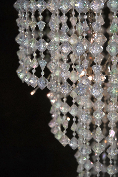 """Battery Operated Chandelier 15"""" LED Crystal Chandelier 3 Tier"""