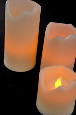 Battery Operated Candles (Set of 3) 4,5,2in Melted Edge Candles LED White Wax Candles