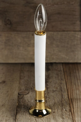 Battery Operated Candle Lamp, 7-Inch, Brass