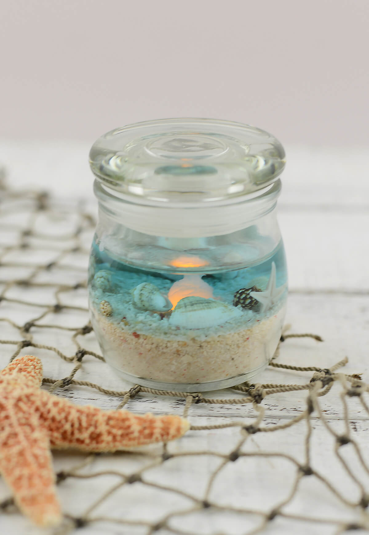 Beach Jar Candle 2x2 5in Battery Op Beach Wedding Favors