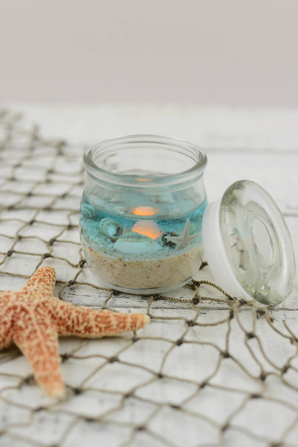 Beach Jar Candle 2x2.5in, Battery Op., Beach Wedding Favors