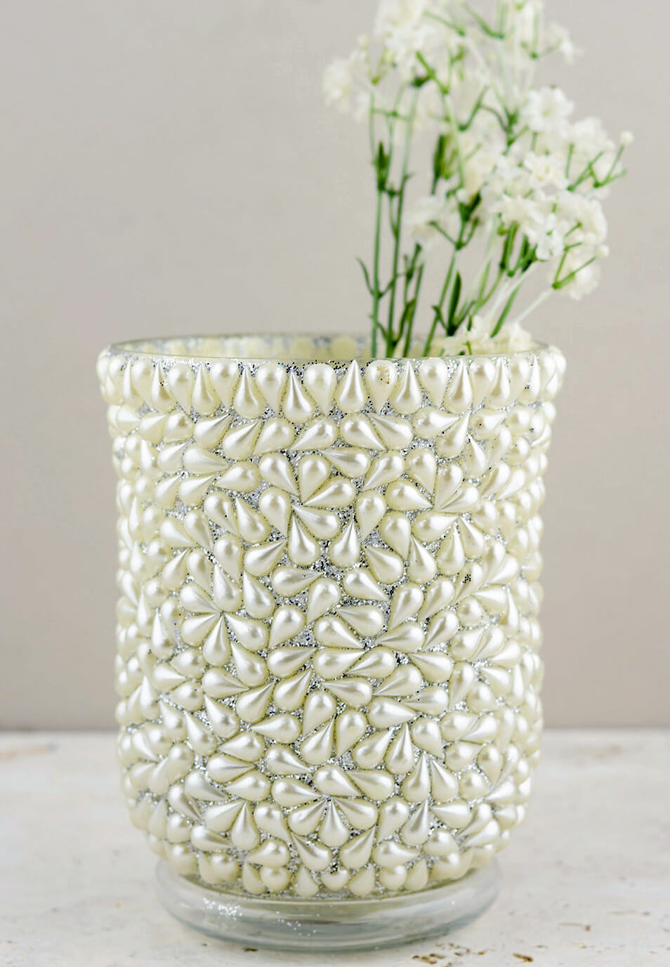Pearl Beaded Hurricane Vase & Candle Holder 6""