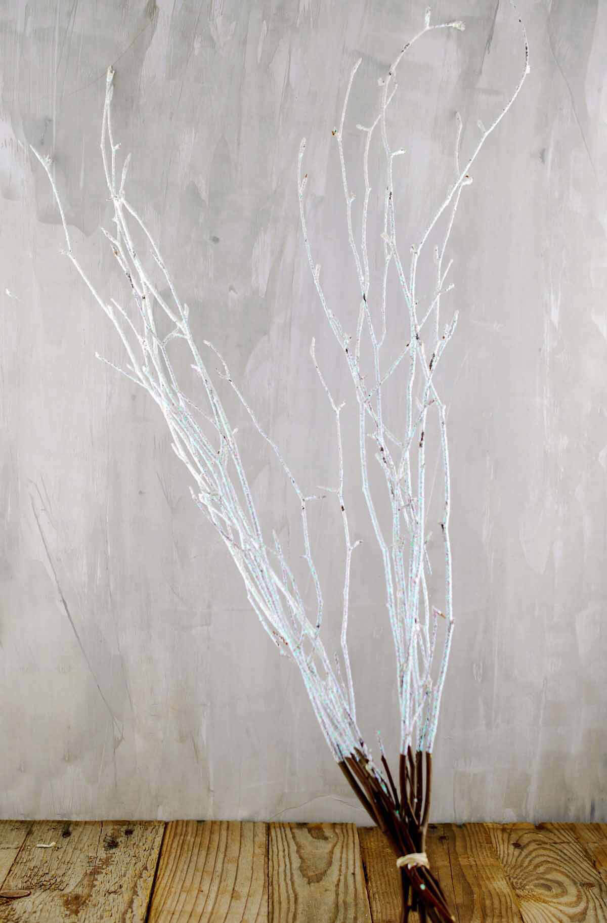 Natural Beech Branches Sparkled White (9 Branches) 24in