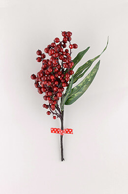 Red Berry Eucalyptus Branch 15in