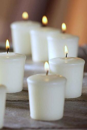9 Unscented White Votive Candles 15hr