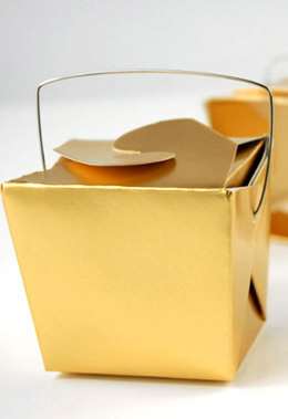 12 Tiny Gold Metallic Takeout Boxes  8oz