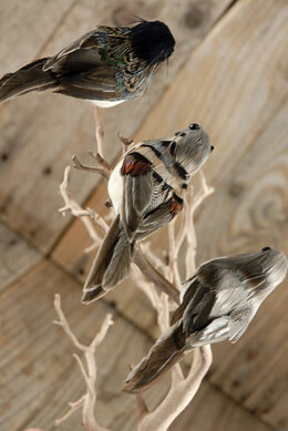 Artificial House Sparrows Birds Set of 6