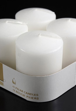 25 hr -Mini Pillar Candles White (4 pack) Unscented